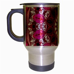 Twirling Pink, Abstract Candy Lace Jewels Mandala  Travel Mug (silver Gray)