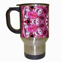 Twirling Pink, Abstract Candy Lace Jewels Mandala  Travel Mug (white)