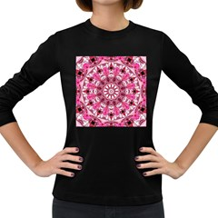Twirling Pink, Abstract Candy Lace Jewels Mandala  Women s Long Sleeve T Shirt (dark Colored)