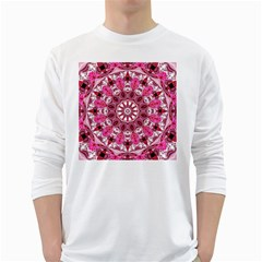 Twirling Pink, Abstract Candy Lace Jewels Mandala  Men s Long Sleeve T-shirt (White)