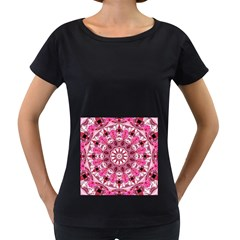 Twirling Pink, Abstract Candy Lace Jewels Mandala  Women s Loose-Fit T-Shirt (Black)