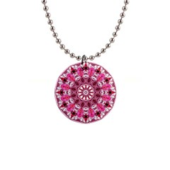 Twirling Pink, Abstract Candy Lace Jewels Mandala  Button Necklace