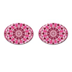 Twirling Pink, Abstract Candy Lace Jewels Mandala  Cufflinks (Oval)