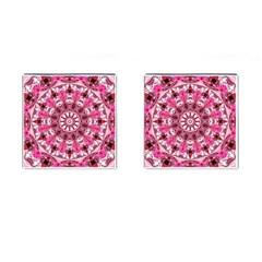Twirling Pink, Abstract Candy Lace Jewels Mandala  Cufflinks (Square)