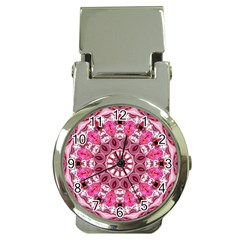 Twirling Pink, Abstract Candy Lace Jewels Mandala  Money Clip with Watch