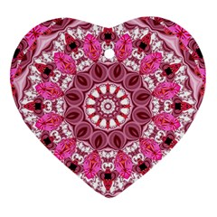 Twirling Pink, Abstract Candy Lace Jewels Mandala  Heart Ornament (two Sides)