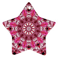 Twirling Pink, Abstract Candy Lace Jewels Mandala  Star Ornament (two Sides)
