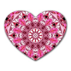 Twirling Pink, Abstract Candy Lace Jewels Mandala  Mouse Pad (Heart)