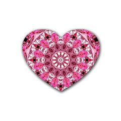 Twirling Pink, Abstract Candy Lace Jewels Mandala  Drink Coasters 4 Pack (Heart)
