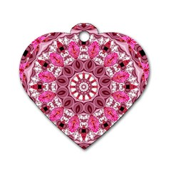 Twirling Pink, Abstract Candy Lace Jewels Mandala  Dog Tag Heart (Two Sided)