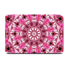Twirling Pink, Abstract Candy Lace Jewels Mandala  Small Door Mat