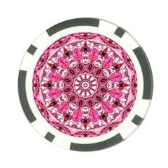 Twirling Pink, Abstract Candy Lace Jewels Mandala  Poker Chip
