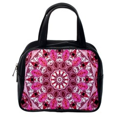 Twirling Pink, Abstract Candy Lace Jewels Mandala  Classic Handbag (one Side)