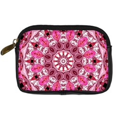 Twirling Pink, Abstract Candy Lace Jewels Mandala  Digital Camera Leather Case