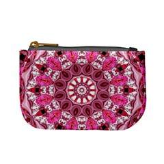 Twirling Pink, Abstract Candy Lace Jewels Mandala  Coin Change Purse