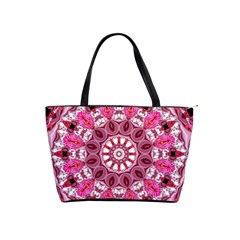 Twirling Pink, Abstract Candy Lace Jewels Mandala  Large Shoulder Bag