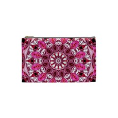 Twirling Pink, Abstract Candy Lace Jewels Mandala  Cosmetic Bag (small)