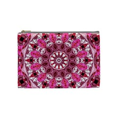Twirling Pink, Abstract Candy Lace Jewels Mandala  Cosmetic Bag (medium)