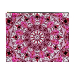 Twirling Pink, Abstract Candy Lace Jewels Mandala  Cosmetic Bag (XL)