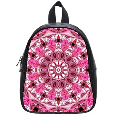 Twirling Pink, Abstract Candy Lace Jewels Mandala  School Bag (small)