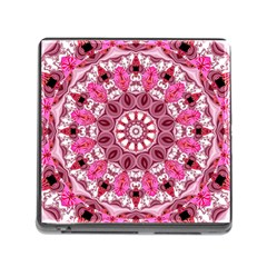 Twirling Pink, Abstract Candy Lace Jewels Mandala  Memory Card Reader With Storage (square)