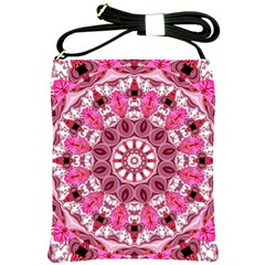 Twirling Pink, Abstract Candy Lace Jewels Mandala  Shoulder Sling Bag
