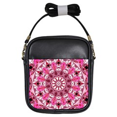 Twirling Pink, Abstract Candy Lace Jewels Mandala  Girl s Sling Bag
