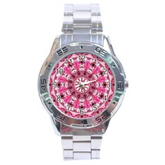 Twirling Pink, Abstract Candy Lace Jewels Mandala  Stainless Steel Watch