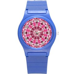 Twirling Pink, Abstract Candy Lace Jewels Mandala  Plastic Sport Watch (small)