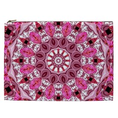 Twirling Pink, Abstract Candy Lace Jewels Mandala  Cosmetic Bag (XXL)
