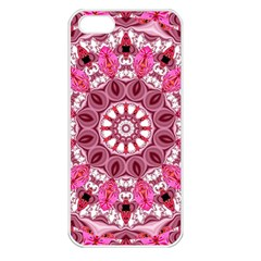 Twirling Pink, Abstract Candy Lace Jewels Mandala  Apple Iphone 5 Seamless Case (white)