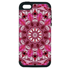 Twirling Pink, Abstract Candy Lace Jewels Mandala  Apple Iphone 5 Hardshell Case (pc+silicone)