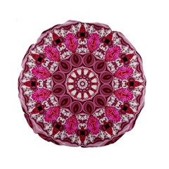 Twirling Pink, Abstract Candy Lace Jewels Mandala  15  Premium Round Cushion