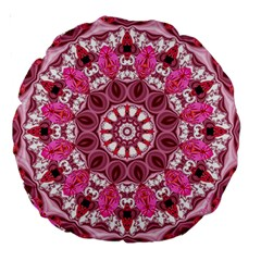 Twirling Pink, Abstract Candy Lace Jewels Mandala  18  Premium Round Cushion