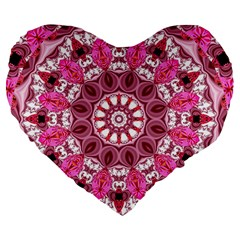 Twirling Pink, Abstract Candy Lace Jewels Mandala  19  Premium Heart Shape Cushion