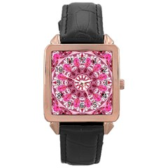 Twirling Pink, Abstract Candy Lace Jewels Mandala  Rose Gold Leather Watch