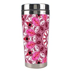 Twirling Pink, Abstract Candy Lace Jewels Mandala  Stainless Steel Travel Tumbler