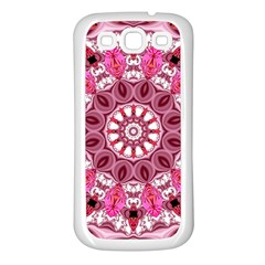 Twirling Pink, Abstract Candy Lace Jewels Mandala  Samsung Galaxy S3 Back Case (White)