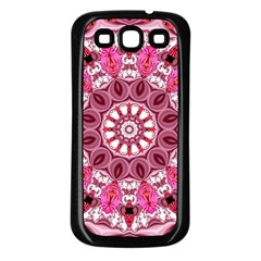 Twirling Pink, Abstract Candy Lace Jewels Mandala  Samsung Galaxy S3 Back Case (black)