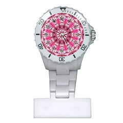 Twirling Pink, Abstract Candy Lace Jewels Mandala  Nurses Watch