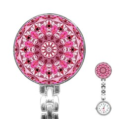 Twirling Pink, Abstract Candy Lace Jewels Mandala  Stainless Steel Nurses Watch