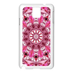 Twirling Pink, Abstract Candy Lace Jewels Mandala  Samsung Galaxy Note 3 N9005 Case (White)