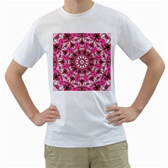 Twirling Pink, Abstract Candy Lace Jewels Mandala  Men s T-Shirt (White)