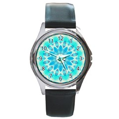 Blue Ice Goddess, Abstract Crystals Of Love Round Leather Watch (Silver Rim)