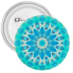 Blue Ice Goddess, Abstract Crystals Of Love 3  Button