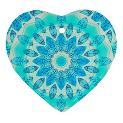 Blue Ice Goddess, Abstract Crystals Of Love Heart Ornament
