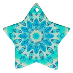 Blue Ice Goddess, Abstract Crystals Of Love Star Ornament
