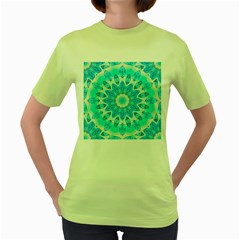 Blue Ice Goddess, Abstract Crystals Of Love Women s T-shirt (Green)