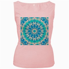 Blue Ice Goddess, Abstract Crystals Of Love Women s Tank Top (Pink)