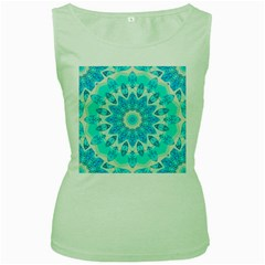 Blue Ice Goddess, Abstract Crystals Of Love Women s Tank Top (Green)